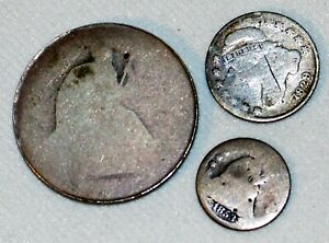3 Silver US CULL Coins 1829 Capped Bust Dime Seated Liberty 50c 1853 Half Dime