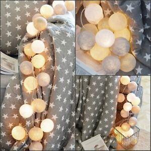 20LEDs Cotton Ball Fairy String Lights Wedding Party Patio Christmas Home Decor