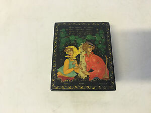 Russian Lacquer Signed Box Fairy Tale Scene Woman & Man w/ Musical Instrument