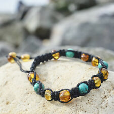 Macrame Shamballa Baltic Amber Bracelet Turquoise Unisex Black Linen Browm Men