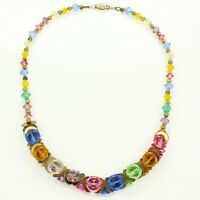 Vintage 1940's Gold-tone 15'' MULTI-COLOR Glass CRYSTAL Choker NECKLACE WWII Era