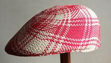 "Genuine Panama Hat Montecristi Flat cap ""Ivy"" red Men Woman Straw  - Ecuador"