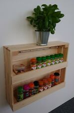 Wooden Spice Rack Wall Mounted Or Free Standing Natural Pine jp048