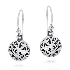 Stylish 3D Filigree Round Ball Sterling Silver Earrings