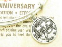 Wind & Fire Happy Anniversary Silver Charm Wire Bangle Stackable Bracelet Gift