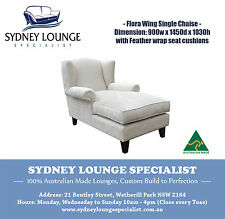 Brand New - AUS MADE Flora Wing Chaise (Quantum Fabric) Feather Seat Sofa Lounge