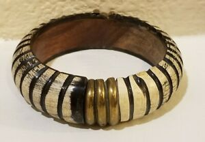 Wood Bracelet Costume Jewelry Black, White and Gold