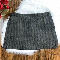 DKNY Women's Brown Wool Blend Gray Mini Cut Lined Business Skirt Size 8