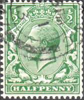 GB - KGV SG 397 1/2d GREEN Watermark Multiple Royal Cypher (from rolls) VFUsed