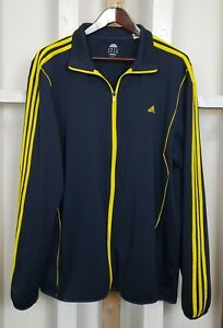 Adidas Climacool Navy And Yellow Track Jacket Zip Coat Up 3 Stripes 3XL