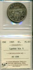 ICCS CAN 1965 $1 PL-63 Large Beads Blunt 5 HC 698