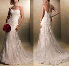 Mermaid White/Ivory Lace Wedding Dress Bridal Gown Stock Size 6 8 10 12 14 16