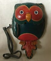 Leather Owl Wristlet - Cute Cell Phone Case Holder - Small Zippered Purse