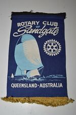 Vintage QUEENSLAND Australia Sandgate Rotary Club International Wall Banner Flag