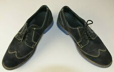 Cole Haan Men's Wing Tip Blue Suede Lace Up Size 8.5 M Oxfords Retro Hipster
