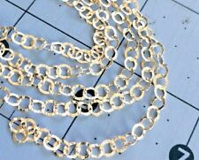 925 Sterling silver cable chain BY THE FOOT hammered textured oval links 3.5x4mm