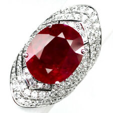 RUBY BLOOD RED OVAL 18 CT.SAPPHIRE 925 STERLING SILVER RING SZ 6.25 GIFT WOMEN