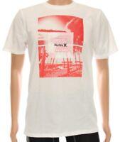 Hurley Men's Nike Dri-Fit Lightweight White Surf Beach Waves Short Sleeve Shirt