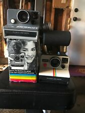 2 Vintage Polaroid SX-70 OneStep Rainbow Land Camera & The Button Land Camera