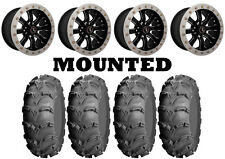 Kit 4 ITP Mud Lite XL Tires 26x10-12 on Raceline Mamba Beadlock Machined IRS