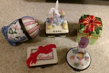 Midwest Porcelain Easter Egg, candy box, present and 2 bunnies trinket boxes