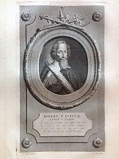 ROBERT D'EVREUX CONTE ESSEX  Ritratto PIA GUNST Werff Acquaforte XVIII secolo