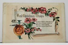 Best Christmas Wishes Poem Embossed Flowers 1912 Rhode  Island Postcard F8