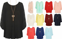 New Plus Size Womens Chiffon Lace Sleeve Necklace Bubble Hem Ladies Pleated Top
