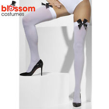 AC72 Opaque White Thigh Highs Alice in Wonderland Stockings Black Bow Ribbons