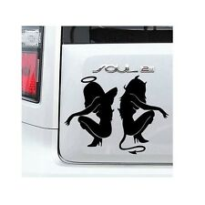 Sexy Angel Devil Women Sitting Vinyl Sticker For Car Van - Black Sticker