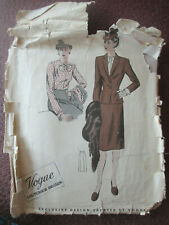 18 Vogue Couturier 36 bust vtg 1940/50s suit jacket blouse skirt sewing pattern