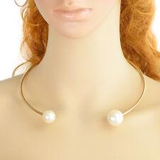 Fashion Celebrity Big Blanco Doble Imitación Collar De Perlas Pulsera Gargantilla de pista