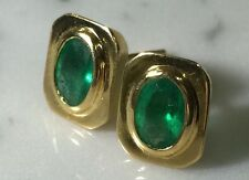 RETRO 1.80TCW Colombian green EMERALDS IN 18K SOLID GOLD EARRINGS NATURAL Studs