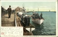 Provincetown Cape Cod MA Railroad Wharf Navy Sailors c1905 Postcard