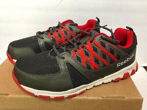 Reebok Work Men's 9 Wide Sublite Work Sneaker Steel Safety Toe RB4005 Grey Red