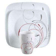 Vitrelle Dinnerware Set,16-Piece 4-Service Square White Glass Plates,Bowls & Mug