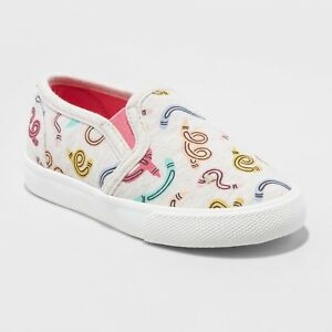 NEW Toddler Girls' Mady Slip on Canvas Sneakers- Cat & Jack 9