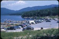 Lots Of Old Cars In Parking Lot at Beautful Lake Vintage 1950s Slide Photo