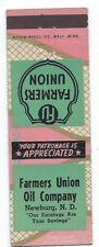 FARMER'S UNION OIL COMPANY vintage matchbook matchcover - NEWBURG, NORTH DAKOTA