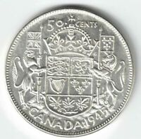 CANADA 1945 BLUNT 5 50 CENTS HALF DOLLAR GEORGE VI CANADIAN .800 SILVER COIN