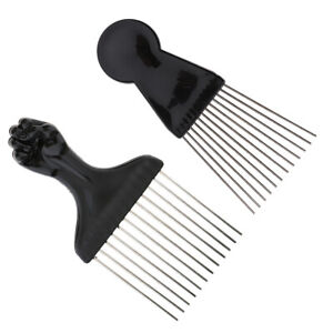 2pcs Salon Metal Lift Comb Afro Curly Hair Pick Detangling Anti Static Combs