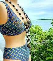 "Bikini Swimsuit Silver/Gold TOP & BOTTOM  ""Spanish Gold"" themed Mermaid Print"