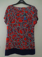 BNWT LADIES M&S WOMAN SHORT SLEEVED RED/NAVY/WHITE TOP SIZE 12