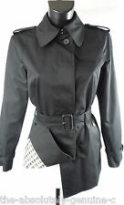 Aquascutum Black Short Trench Rain Coat Sz 10