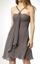 NWT–CACHE-GREY CHIFFON SEQUIN & RHINESTONES DRESS–ELEGANT & GRACEFUL! SIZE:2 (S)