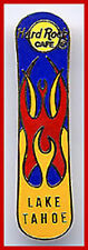 Hard Rock Cafe LAKE TAHOE 1990s Snowboard PIN with Tattoo Flames