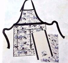 Envogue Dogs Galore Apron and Two Kitchen Towels Navy Blue White Canine Decor