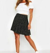 Boohoo Black and White Polka Dot Skater Skirt Size 10