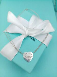 Genuine Return To Tiffany & Co Heart Pendant Necklace VG Condition 16""