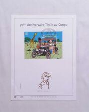 Ex libris 70 ans Tintin au Congo timbre n° 500ex or fin HERGE MOULINSART BD RARE
